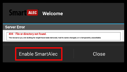 SmartAlec App - Enable SmartAlec button.