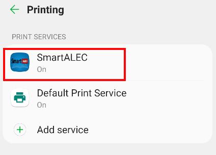 Printing Menu - Select SmartAlec app