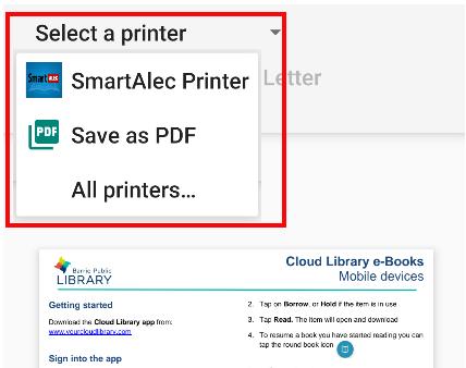 Select SmartAlec Printer as the printer