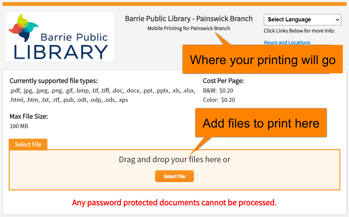 Web portal Upload page with pick-up branch at top of page and Select File button highlighted.