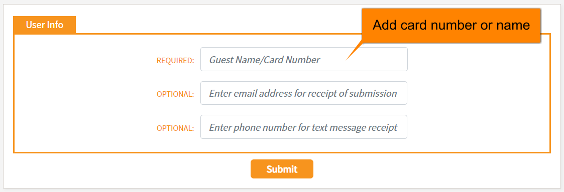 User Info section with Card Number box highlighted.