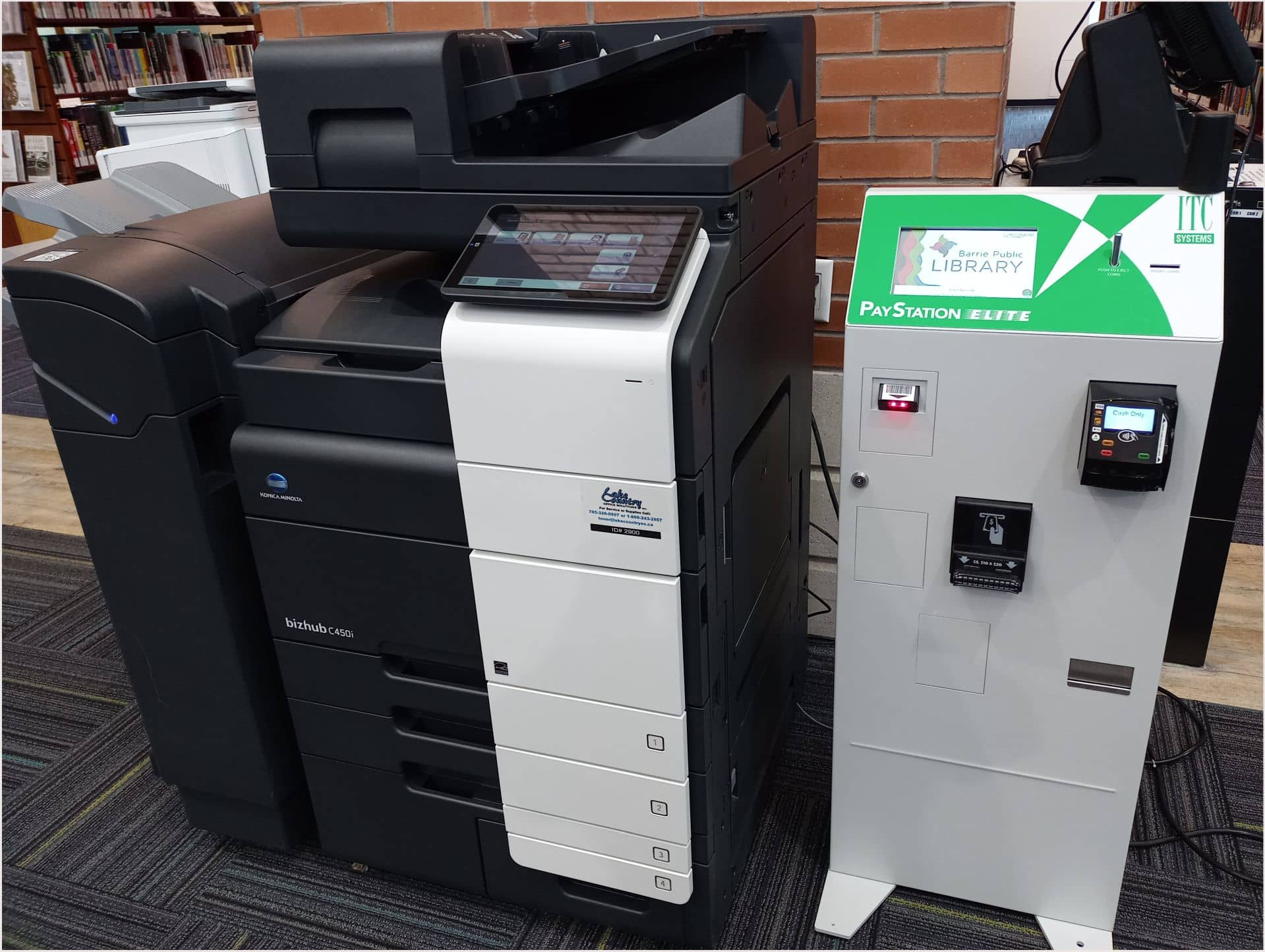 Photo of a printer and kiosk at the Downtown library.