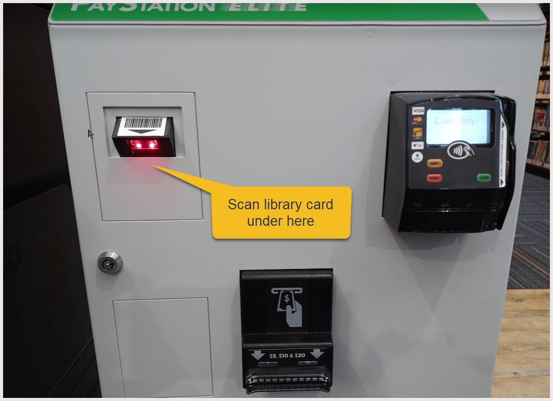Front of kiosk. The card scanner is near the upper left corner of the kiosk front.