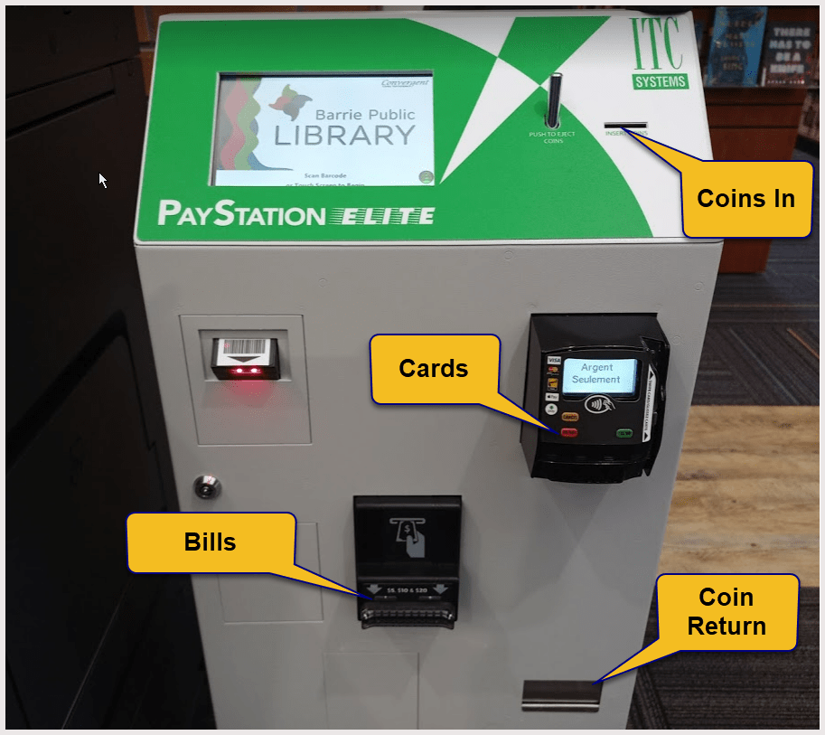 Front of kiosk. Coin slot on the top at the right. Card reader on the front, top right. Bill slot on the front, centre. Coin return on the front, bottom right.