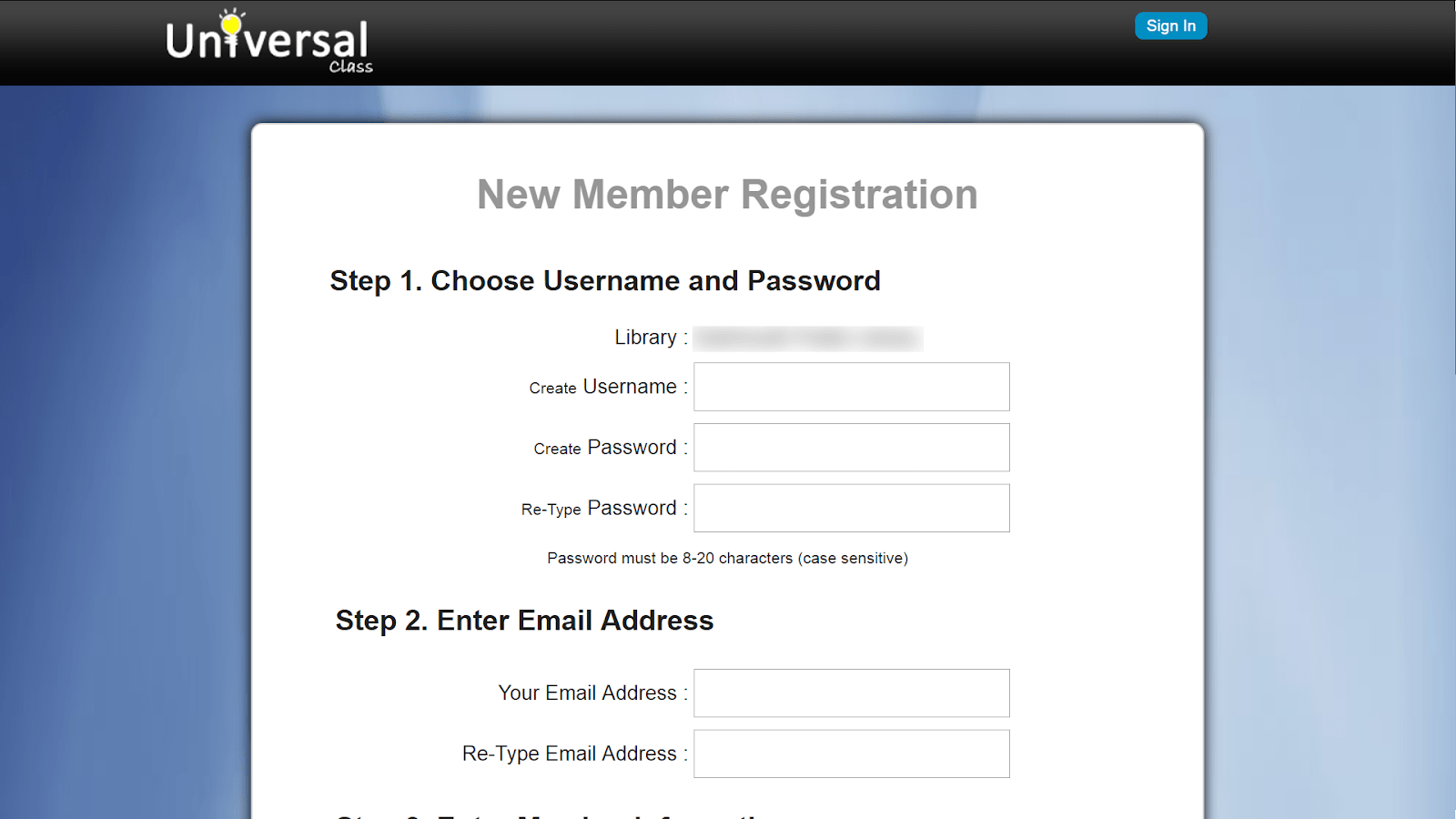 screenshot new member registration