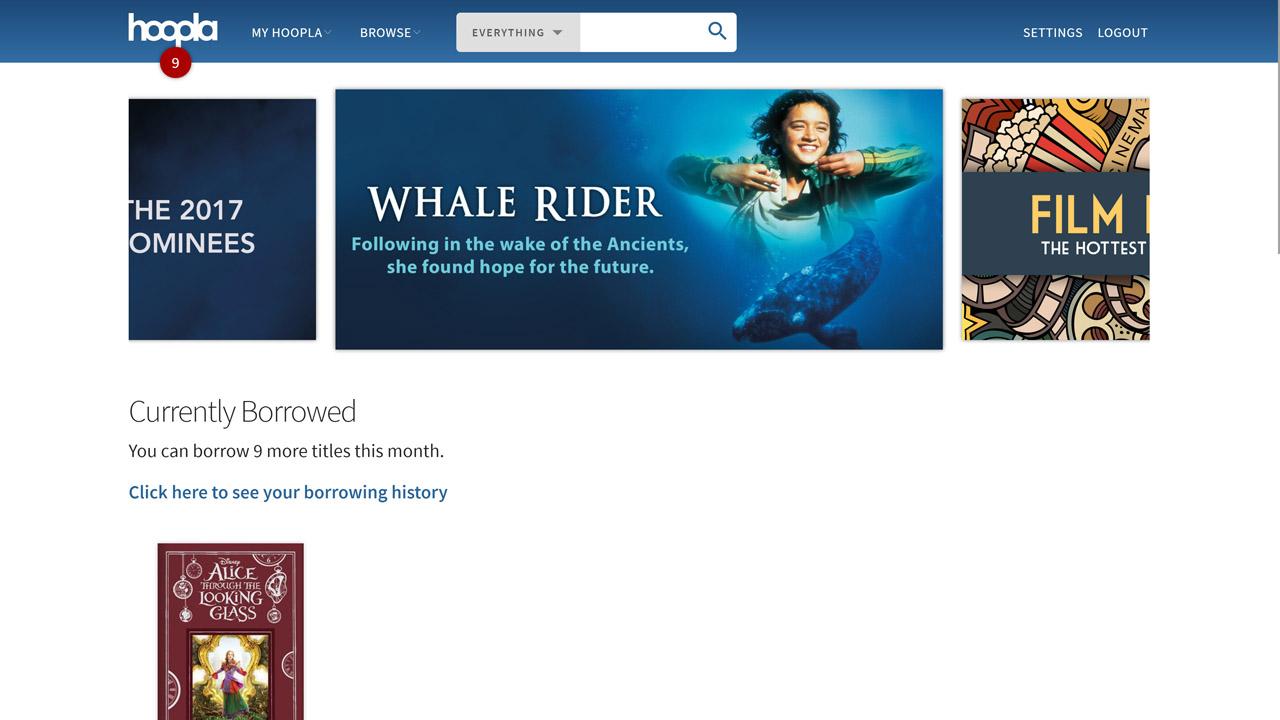 screenshot hoopla homepage