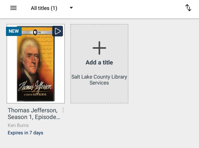 Screenshot of titles on an Overdrive bookshelf