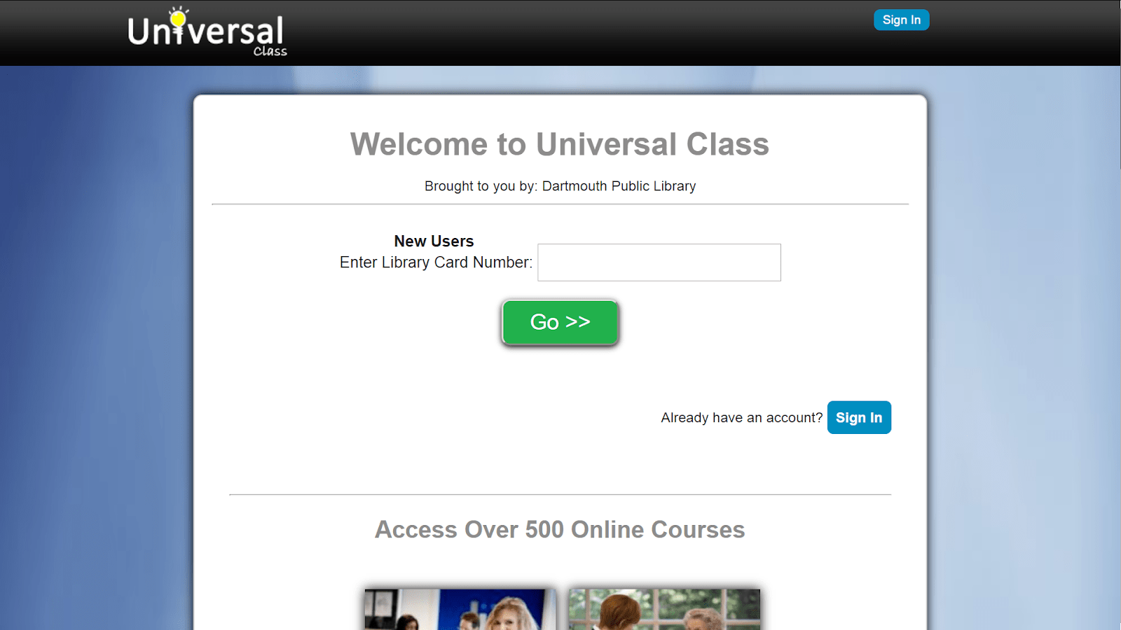 screenshot universal class login page
