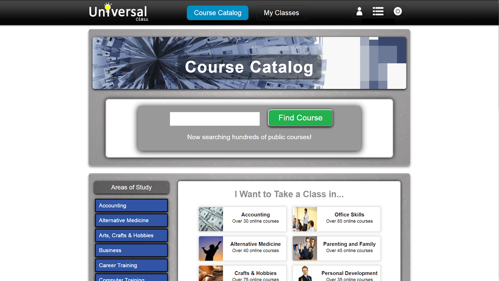 screenshot course catalog